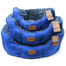 Luxurious Faux Suede Dog Beds. Blue/Grey. Medium